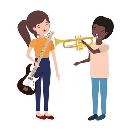 couple with musical instruments avatar character vector illustration design Imagens - 121083103