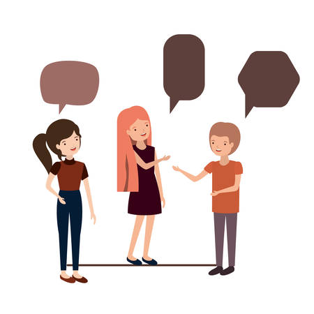 group of people with speech bubble character vector illustration design
