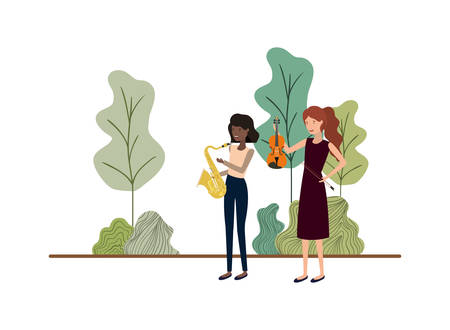 women with musical instruments in landscape vector illustration design