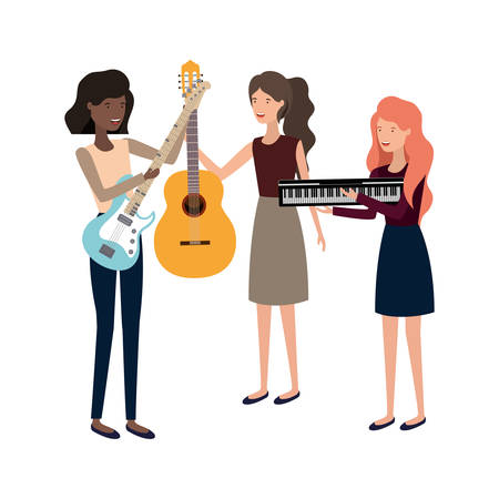 women with musical instruments character vector illustration design