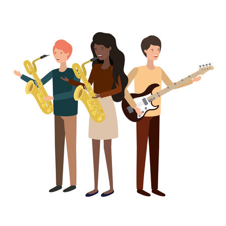 group of people with musical instruments vector illustration design