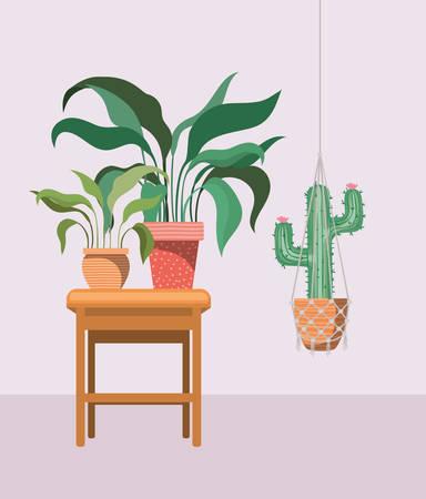 houseplants in macrame hangers and wooden chair vector illustration design