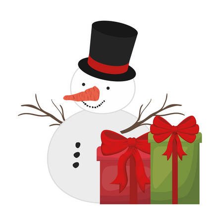 gift boxes and snow man isolated icon vector illustration design Banque d'images - 121002949