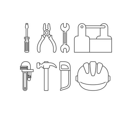 construction tools set items vector illustration design Stock Illustratie