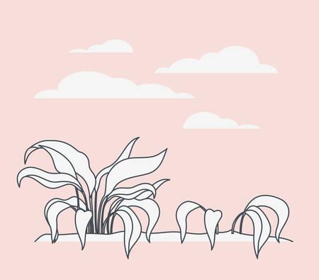 marine plants ecosystem scene vector illustration design Stock Vector - 123366568