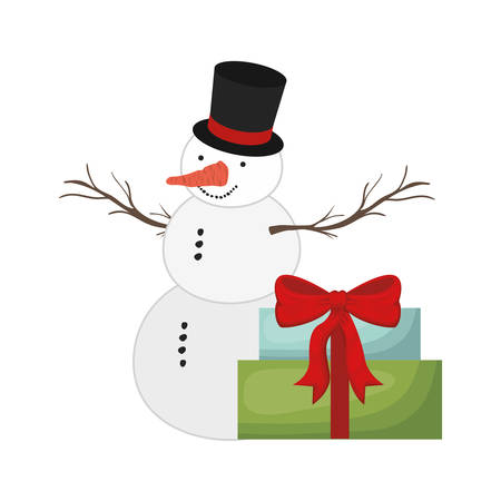 gift boxes and snow man isolated icon vector illustration design