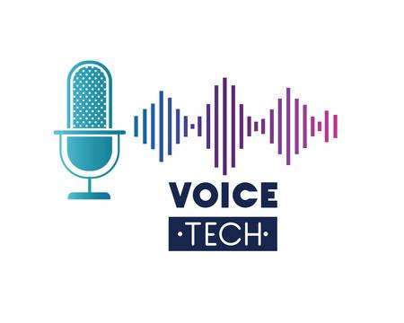 Etiqueta de tecnología de voz con micrófono y onda de sonido, diseño de ilustraciones vectoriales