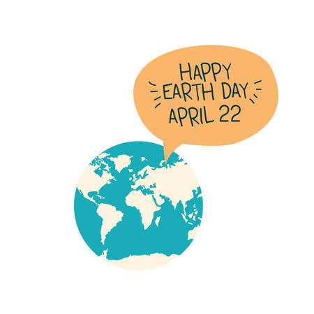 happy earth day label icon vector illustration design Illusztráció