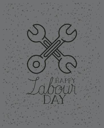 wrench keys crossed labour day vector illustration design Stock Illustratie