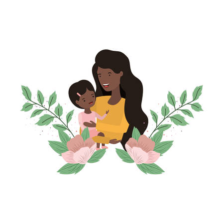 woman with baby avatar character vector illustration design