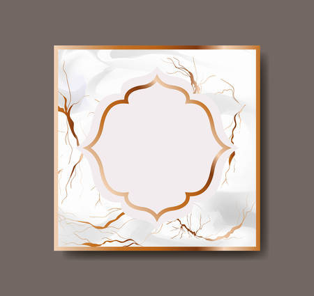 square golden with victorian frame marble texture vector illustration design
