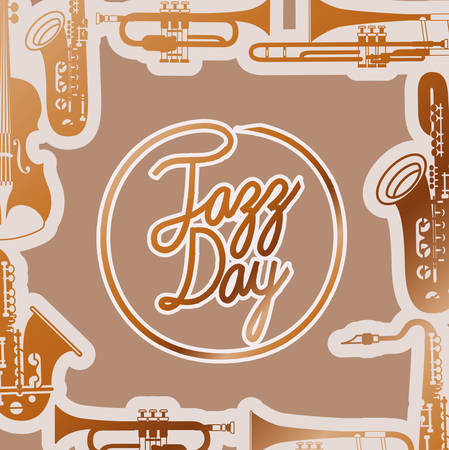 jazz day poste with instruments and wooden backgroundvector illustration design Illustration