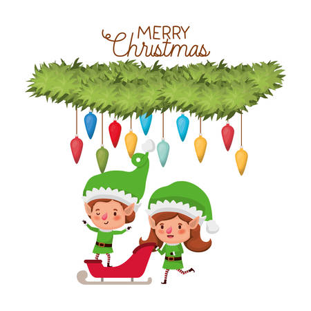 elves couple with sleigh and merry christmas time and garland with christmas balls vector illustration design