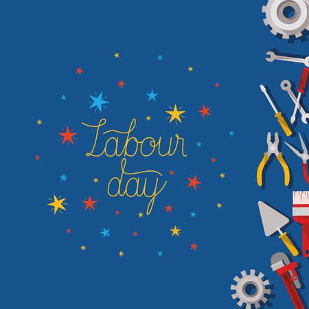 set of tools construction labour day frame vector illustration design
