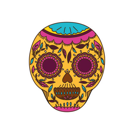 mexican skull isolated icon vector illustration design