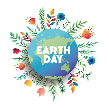 world planet earth day with floral decoration vector illustration design Stock Illustratie