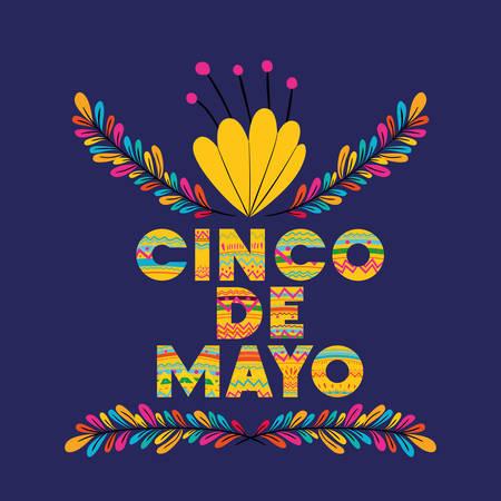 cinco de mayo card with floral decoration vector illustration design Stock Illustratie