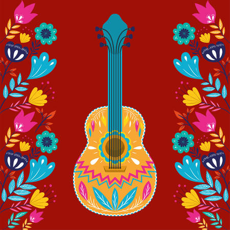 cinco de mayo card with guitar and flowers vector illustration design