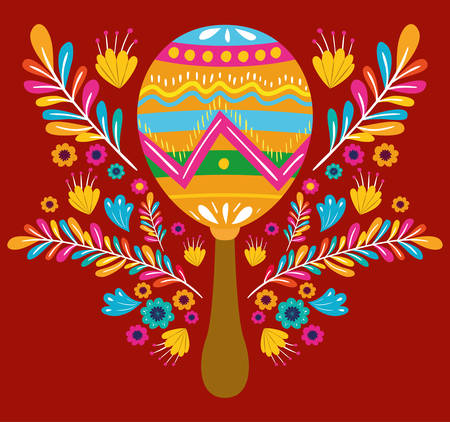 cinco de mayo card with flowers and maracas vector illustration design  イラスト・ベクター素材