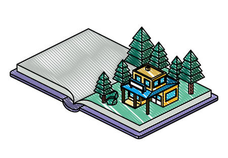 book school with field and building isometric vector illustration design Ilustracja
