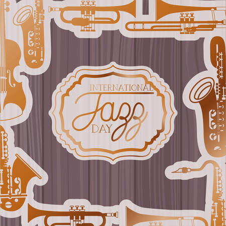 jazz day frame with instruments and wooden background vector illustration design Illustration