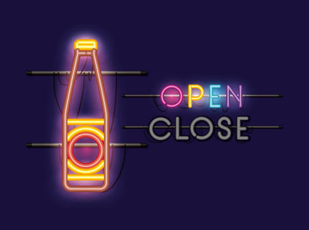 beer bottle neon light vector illustration design
