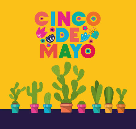 cinco de mayo card with flowers and cactus vector illustration design