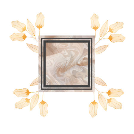 flowers and leafs with frame isolated icon vector illustration desing Ilustrace