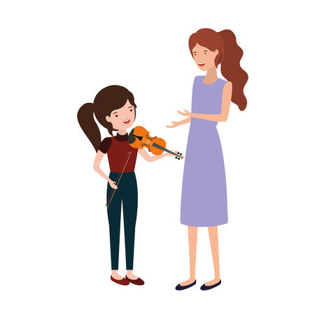 woman with daughter and violin avatar character vector illustration design