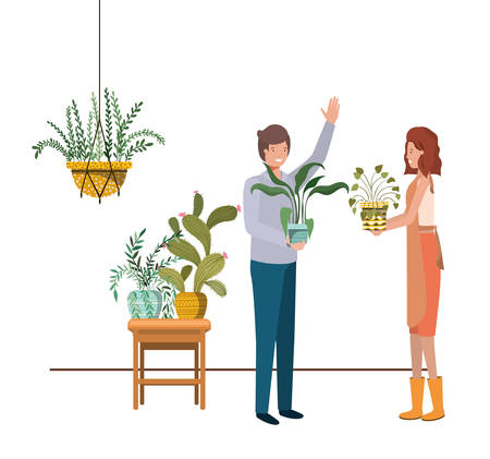 couple with houseplant on macrame hangers vector illustration design Ilustração