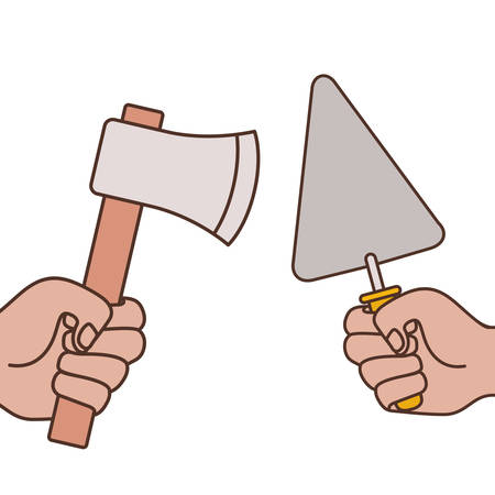 hands with spatula and ax isolated icon vector illustration design