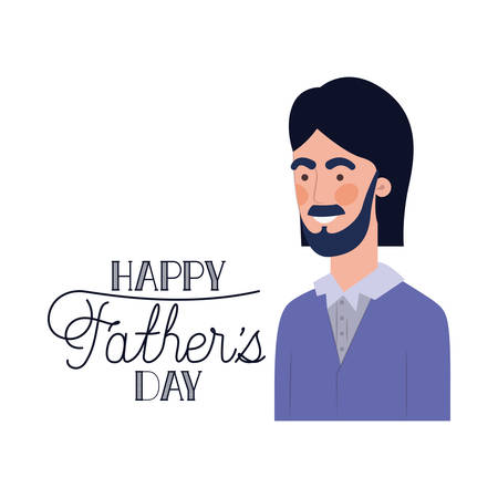 happy father day label with man icon vector illustration design