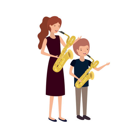 woman with son and saxophone avatar character vector illustration design