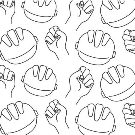 safety helmet pattern isolated icon vector illustration design  イラスト・ベクター素材