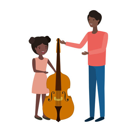 man with daughter and fiddle character vector illustration design