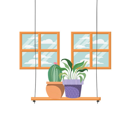 cactus with potted on shelf isolated icon vector illustration design