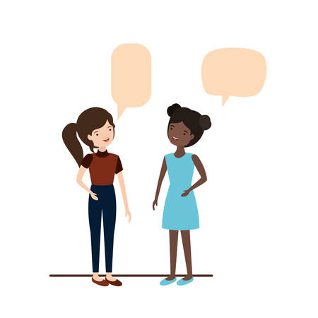 young women with speech bubble avatar character vector illustration desing