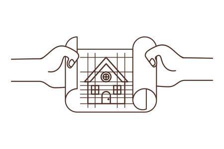 Hand mit Bauplan isoliert Symbol Vektor Illustration Design Vektorgrafik