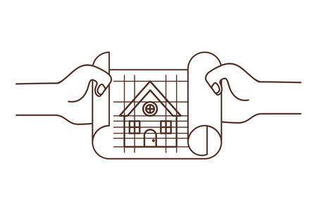 hand with construction plan isolated icon vector illustration design Vettoriali