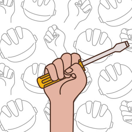 hand with screwdriver tool isolated icon vector illustration design  イラスト・ベクター素材