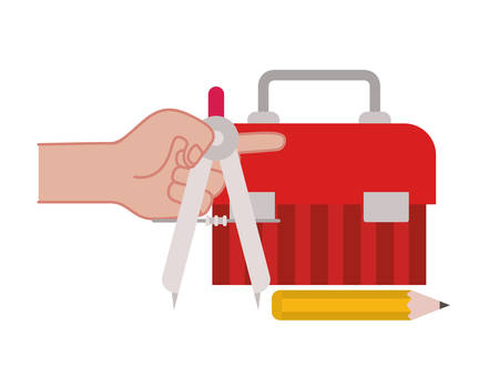 hand with construction tool box icon vector illustration design