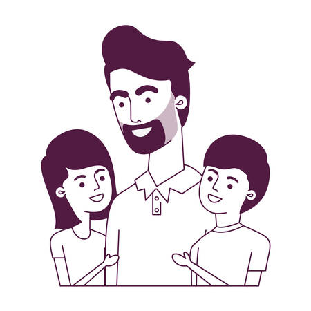 father with children avatar character vector illustration design Vector Illustration