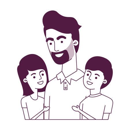 padre con bambini avatar carattere illustrazione vettoriale design Vettoriali