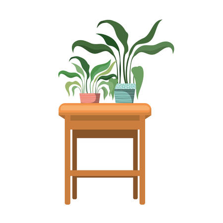 houseplants with potted on the table vector illustration design Illustration