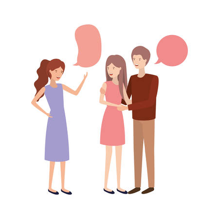 group of people with speech bubble avatar character vector illustration design Ilustração