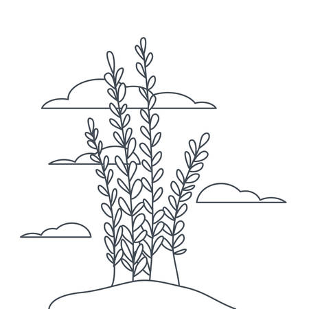 plant in landscape isolated icon vector illustration design 일러스트