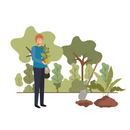 man with tree to plant in landscape vector illustration design