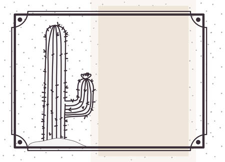 pattern cactus in frame isolated icon vector illustration design