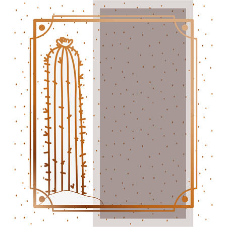 pattern cactus with frame golden isolated icon vector illustration design Ilustração