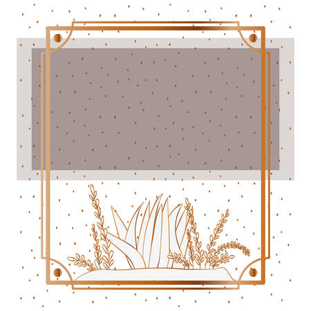 pattern plant with frame golden isolated icon vector illustration design